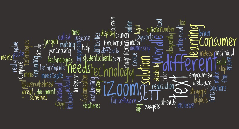 A wordle containing rearranged words from this blog about inclusive technologies