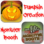 Pumpkin Creation app icon and Monster Booth app icon