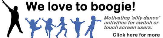 Silhouettes of dancing children. We love to boogie! Motivating 'silly dance' activities for switch or touch screen users. Click for more.
