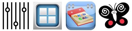 App icons for Bla Bla Bla, Bitsboard, 4KidCal and B&W High Contrast