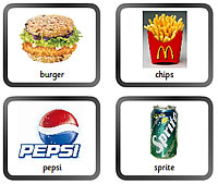A display board with four food pictures of burger, chips, can of Sprite and Pepsi logo