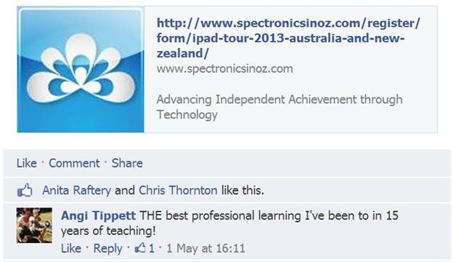 Facebook comment re iPad workshops saying it was the best professional learning in 15 years of teaching