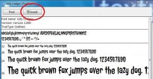 Install Font Window