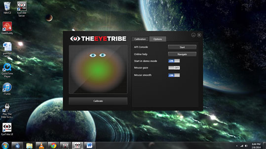Eye Tribe interface screen with options