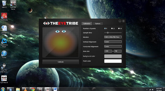 Eye Tribe Calibration screen  with options