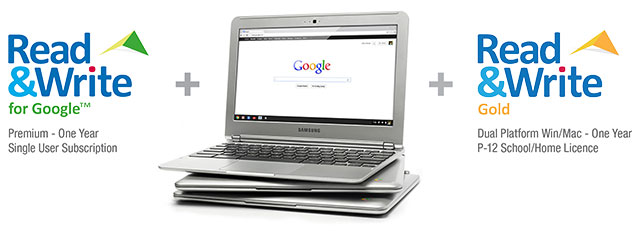 Image of Texthelp logos and a group of three Samsung Chromebooks stacked together