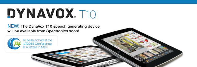 Image of the DynaVox T10 communication device with announcement of coming soon!