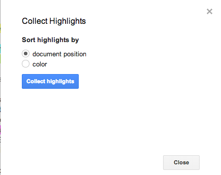 Collect Highlights Screen