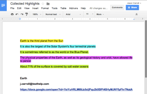 Google Doc with Collected Highlights