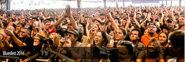 Image of waving crowds at a Byron Bay Bluesfest performance