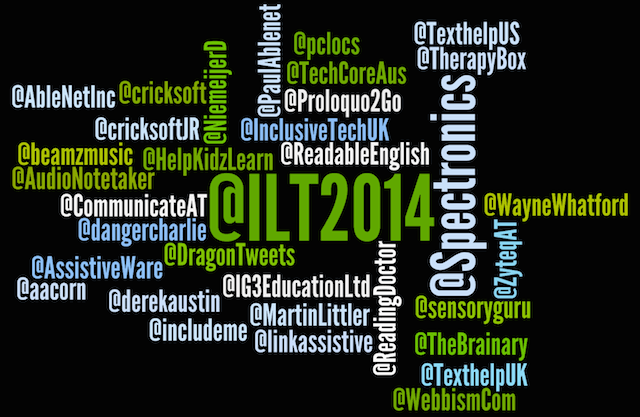 Image of words listing all of the Twitter names for our ILT2014 Conference exhibitors