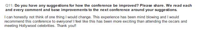 ILT2014 Conference delegate feedback