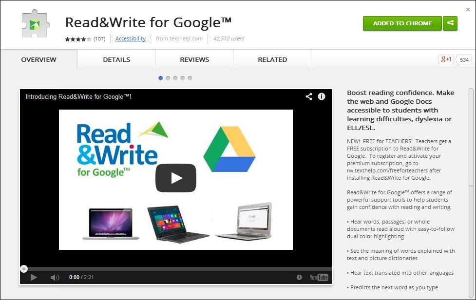 Read&Write for Google in Chromestore
