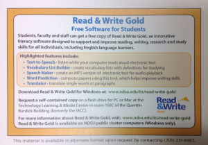 Read&Write Gold Postcard from North Dakota State University