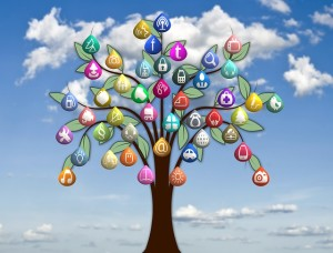 Tree with social media icons as leaves