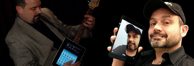 Montage image of Kevin Honeycutt with iPad and iPad guitar