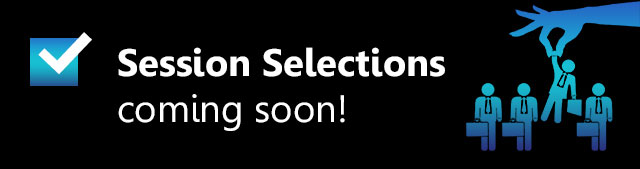 Image saying 'Session Selections coming soon' with a checkbox ticked and a hand lifting a selected person out of a lineup of people