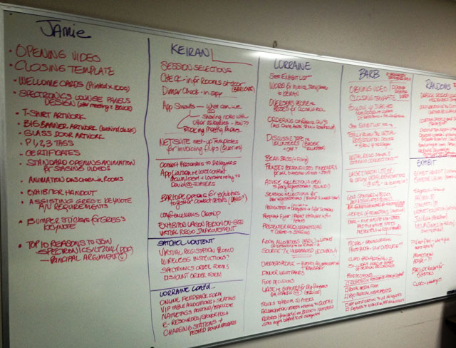 Image of a whiteboard filled with tasks for each member of the Conference Committee to complete!